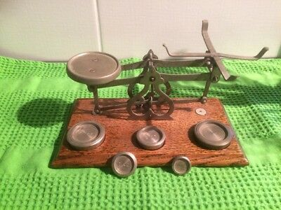 SCALES VINTAGE ANTIQUE Wood Brass & Weights England