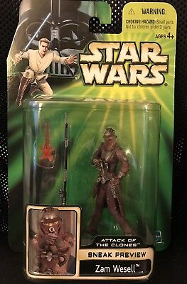 STAR WARS POTJ 2002 ZAM WESELL AOTC Sneak Preview ACTION FIGURE MOC