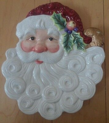 Fitz and Floyd Essentials Santa Claus Face Canape Dessert or Wall Hanging Plate