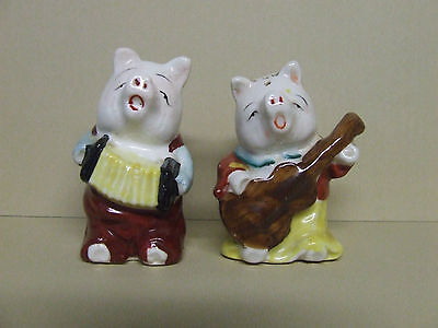 Vintage Anthropomorphic Pigs Dressed Up w/Instruments Salt & Pepper (Japan)