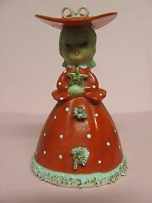 Vintage Christmas Lady in Red Holding Gold Star w/Spaghetti Trim Bell
