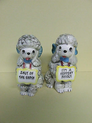 Vintage Poodles/Dogs w/BIG Bows & Signs Salt & Pepper Shakers (Japan)