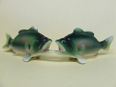 Vintage Green Fish Salt & Pepper Shakers (Japan)