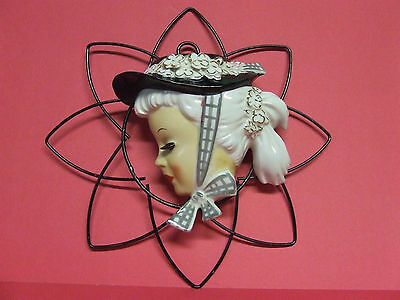 Vintage Lady w/Hat & Flowers with Metal Hanger Wall Pocket (Japan)