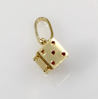 Lucky!!! Solid 14kt Yellow Gold  Dice Charm/Pendant, Small Size, New
