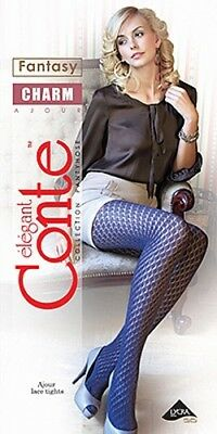 CONTE High quality elegant COTTON openwork/lacy tights/pantyhose black S