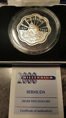 Rare1999 - 2000 Bermuda $2 Dollar Silver Proof  Gold Gilt Millenium Only 30,000