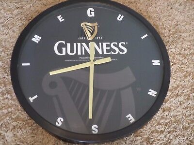 "Beautiful Large Steel Guinness Beer  Sign Wall Clock Bar Tavern Man Cave 24"" NOS"