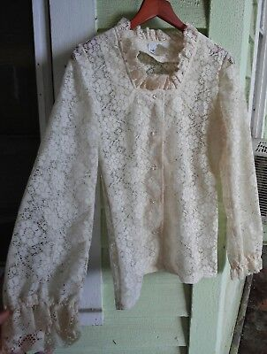 vtg 60s M cream lace top crystal buttons ruffles victorian blouse edwardian mod