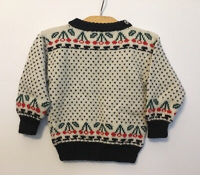 Vintage Kids Knit Rockabilly Cherry Sweater Ugly Christmas Sweater Toddler