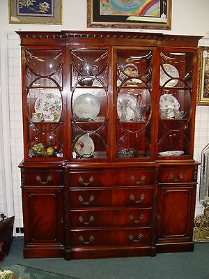 Antique Mahogany China Cabinet W/ Butler's Desk, Convex Glass
