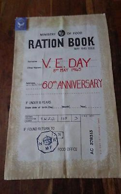 Commemorative cotton linen tea towel Royal Legion 1945-2015 Food Ration Book
