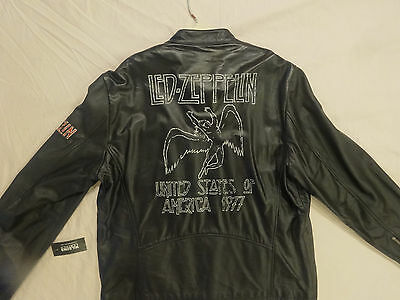 UNUSED! STUNNING! WILSONS LED ZEPPELIN 1977 TOUR LEATHER JACKET w/ ORIGINAL TAG!