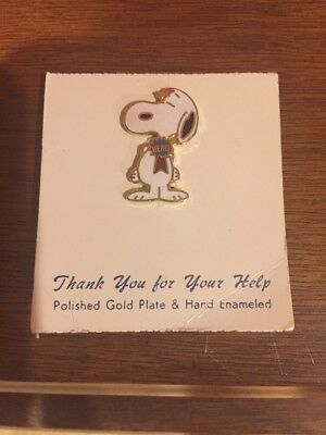 Vintage Snoopy Hero Pin Gold Plate And Enameled