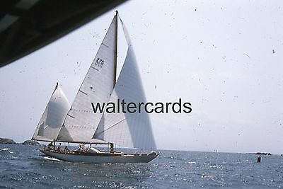 KODACHROME Red Border Slide 1950s Sailboat Ship Ocean Sails Buoy Europe