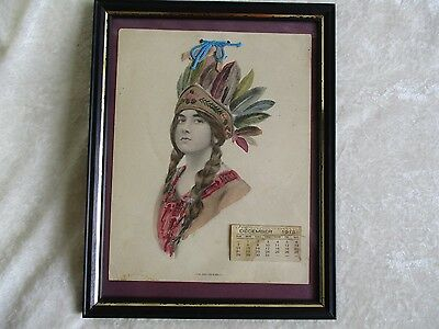 Antique 1912 Pencil Sketch Watercolor - American Indian Girl w/Feather Headdress