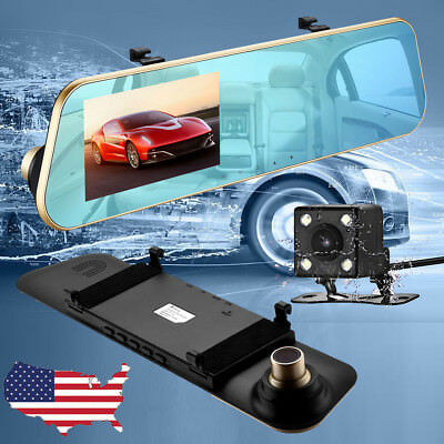 "Full HD 4.3"" Dual Lens Camera Dash Cam Car Recorder DVR with Night Vision GPS"