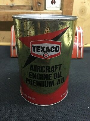 Vintage Texaco Aircraft Engine Oil Can Full Unopened