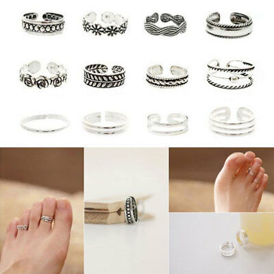 11Pcs Adjustable Silver Toe Rings Ring Carving Foot Jewellery Vintage Ring UK