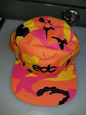 2017 Edc Electric Daisy Carnival Orange / Yellow Camo Snapback Hat Sold Out!