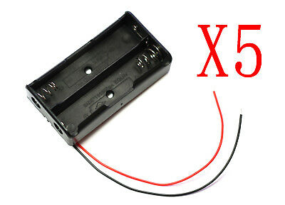 5pcs 2AA Battery Holder Case Box Base 3V Volt PCB Mount With Bare Wire Ends