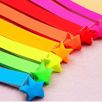 80pcs Beautiful Fashion Colorful Lucky Wish Star Origami Paper Ribbon Nice  CAEV