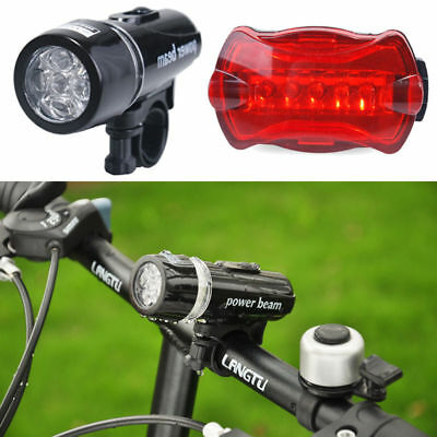 Bicycle Bike Front + Rear Tail Light Cycling Flashlight 5 LED Lamp Waterproof