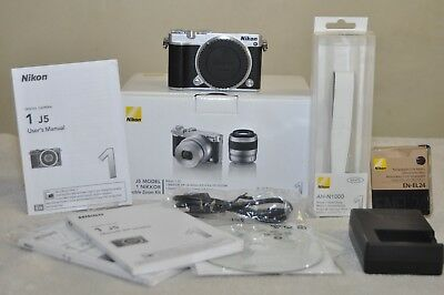 Nikon 1 J5 20.8MP Digital Camera - Silver- ( Body Only)  Box, Low Clicks!!