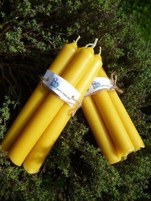 """Pure Bees Wax  molded candles 8"""" x 1"""" ( x 8 )   (made in the UK)"""