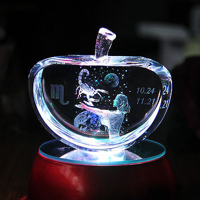 Apple Shape Crystal 3D Laser Etched Scorpio Paperweight Birthday Gift Home Decor