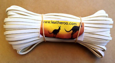 """Kangaroo Lace WHITE - CLEARANCE SPECIAL Leather Lacing 4.7mm 3/16"""" Width 10meter"""