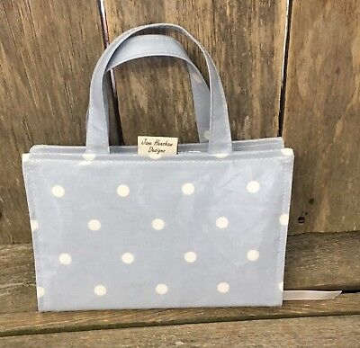 Book bag,A5 Diary Bag,A5 Diary Cover,A5 Book Bag,blue Spotty Oilcloth