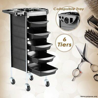 NEW 5 Trays, 6-Tier Hairdresser Hair Salon Spa Trolley Beauty Storage Cart Black