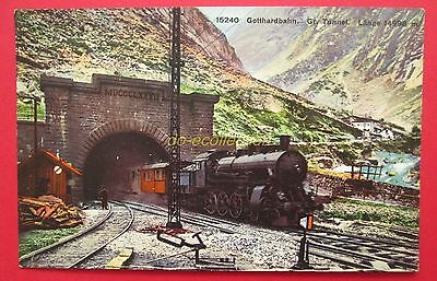 CPA SUISSE GOTTHARDBAHN gr. tunnel länge 14998 m , train couleur