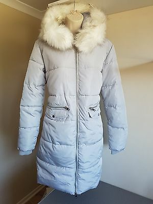 Bnwt New Look Silver Faux Fur Hooded Long Puffer Jacket/Coat Age 12-13 Years