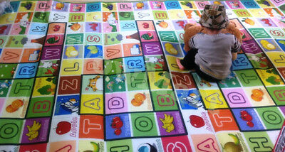 New Waterproof Baby Kid 5mm Thickness Crawling Play Mat 1.8x3m (Fruit Alphabet)