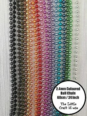 60cm Coloured Anodized Ball Chain 2.4mm Metalic Colour Findings Necklace 24IN