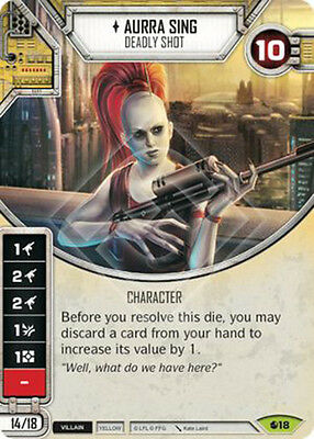 Star Wars Destiny Rare Aurra Sing (with Dice and Protective Sleeve)