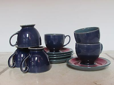 Denby Harlequin Coffee Cups with Saucers