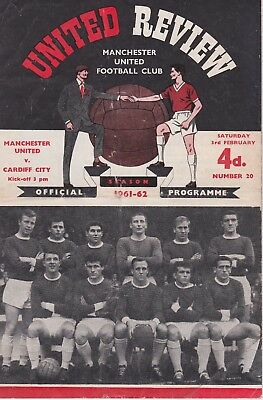 MANCHESTER UNITED v CARDIFF CITY ~ 3 FEBRUARY 1962 ~ TOKEN INTACT