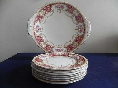 Queen Anne Regency Cake Set for Seven c1950s