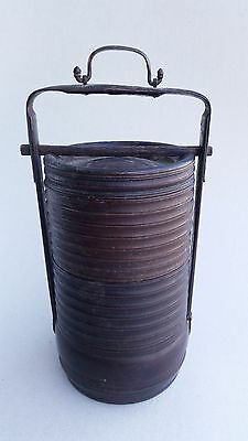 Antique lacquered Chinese bamboo three layer tiffin, Qing Dynasty, 19th century