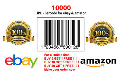 10000 UPC EAN Numbers GS1 Barcodes Bar Codes Code Amazon eBay