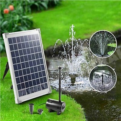 Solar Powered Pond Water Pump Fountain Submersible Kit Power Garden Panel 10W