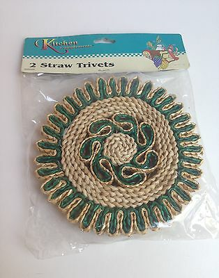 2 Vintage Straw Trivets Blue Green Woven Wicker Hot Pads Retro NEW!