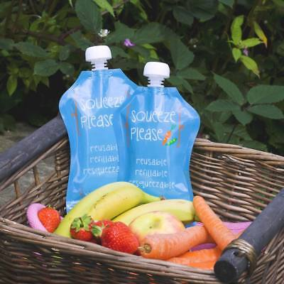 3 REUSABLE FOOD POUCHES - Squeeze Please (3 Pack - 150ml)