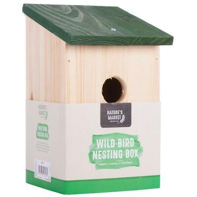 Traditional Solid Wooden Bird Nesting Box House Feeding Station Tree Wall Hang
