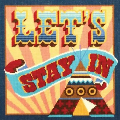 DMC Homespun Let's Stay In Printed Tapestry Cushion Front Kit