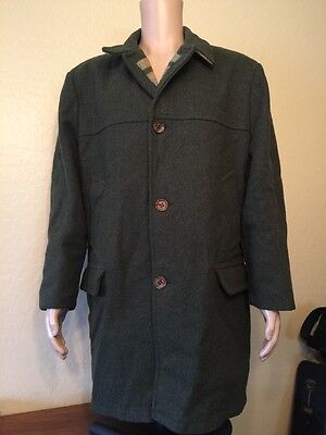 Vintage Woolrich Heavy Duty Wool Trench Peacoat Green Coat Large 44 Large Mens