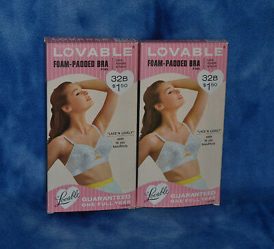 LOVABLE VINTAGE Bra 32B FOAM-PADDED BRA NEW IN ORIGINAL BOX LACE N LOVELY WHITE2